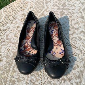 B.O.C. Black Flats with Embellishments Size 8